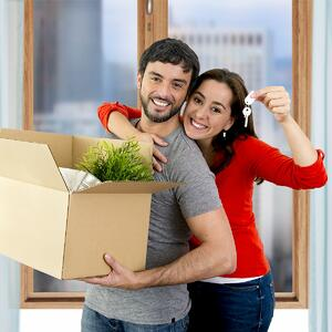 Couple moving into a house with a rental suite